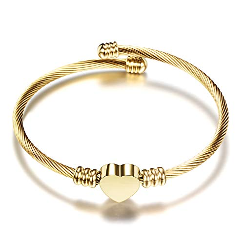 Gold Wire Heart (VQYSKO 3 Colors Jewelry Women's Stainless Steel Twisted Cable Wire Heart Charm Bracelet Bangle (Gold))