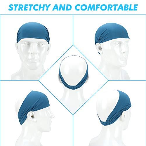 Sports Headbands for Men and Women - Lightweight Sweat Band Moisture Wicking Workout Sweatbands for Running, Cross Training, Yoga and Bike (4 Pack)