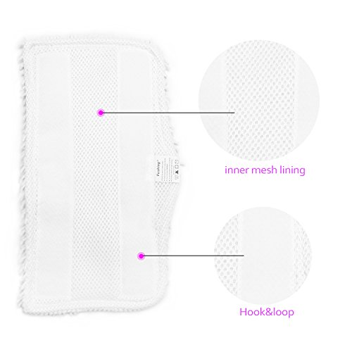 Fushing 5Pcs Household Microfiber Replacement Cleaning Steam Mop Pads for Shark Steam Mop S3101 S3202 S3250 S3251 (White) by Fushing (Image #5)