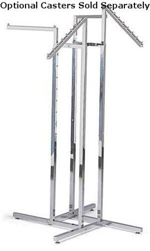 - Clothing Rack New Retails Chrome 4-Way with 2 Straight Arms & 2 Slant Arms