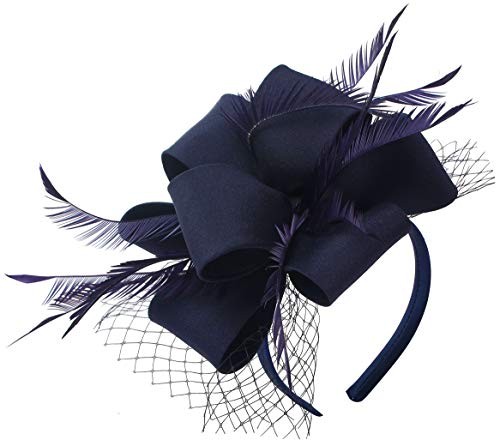 Myjoyday Navy Fascinator Hats for Women Tea Party Wedding Headband Feather Cocktail Headwear Hair -