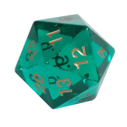 Jumbo d20 Counter - Transparent 55mm Dice: Emerald Gold - Spindown ()