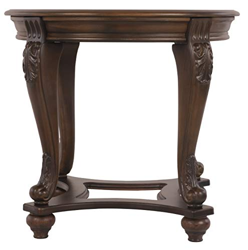 (Ashley Furniture Signature Design - Norcastle End Table - Traditional Vintage Style - Round - Dark Brown)