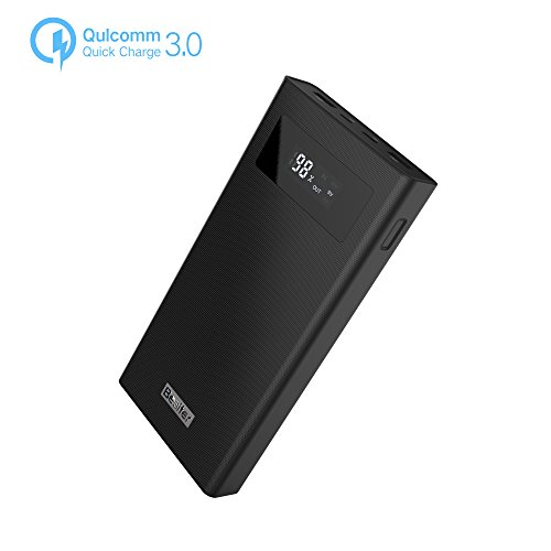 Besiter 20000 Portable Charger QC 3.0 Dual Input Output Typec-C Port LCD Display High Capacity Power Bank 12, 9, 5v External Battery Pack (Black)
