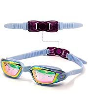 MONKEY FOREST Swim Goggles, Anti-fog UV Protection No Leaking Swimming Goggles, Wide View Adjustable Comfort fit Swim Glasses for Adults Youth