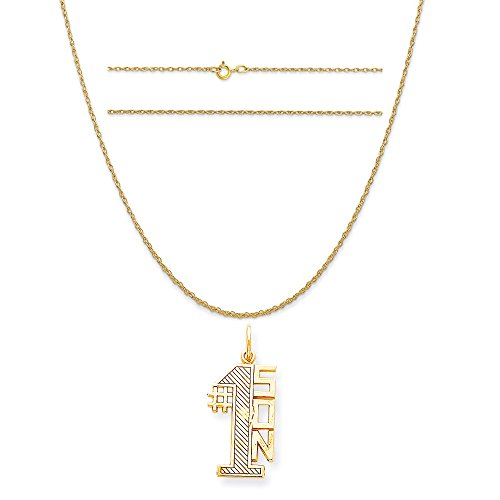 10k Yellow Gold Lined Design #1 Son Charm on a 14K Yellow Gold Carded Rope Chain Necklace, 18