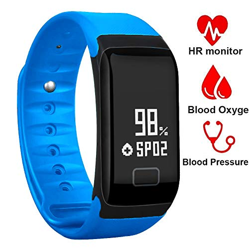 BONNIEWAN Fitness Tracker,Waterproof Activity Tracker with Heart Rate Blood Pressure Blood Oxygen Monitor,Smart Wristband with Pedometer Watch Calorie Counter Sleep Monitor Bluetooth Bracelet (Blue)