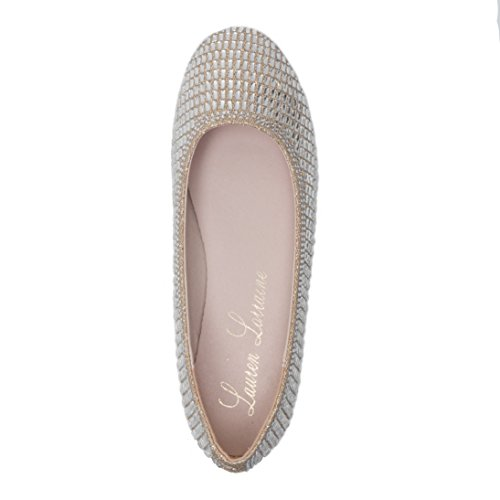 Lauren Lorraine Bailey Silver Womens Crystal Rhinestone Coverered Glitter Slip On Ballet Flat Nude Y2jY7x