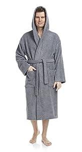 Arus Men's Classic Hooded Bathrobe Turkish Cotton Terry Cloth Robe (L/XL,Gray)