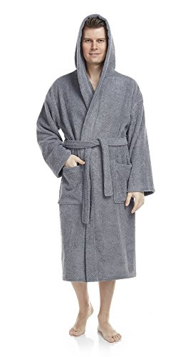 Arus Men's Classic Hooded Bathrobe Turkish Cotton Terry Cloth Robe (Cotton Hooded Robe)