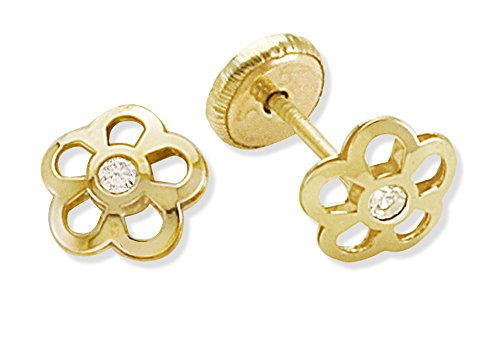 Price comparison product image Baby and Toddler Jewelry-14KY Gold 6.5mm Diameter Flower Design Earring