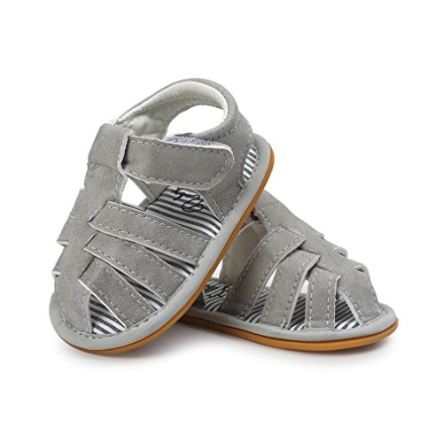 CoKate Infant Baby Boy Shoes Nonskid Sandals Soft Rubber Sole (0-6Month/4.33, Grey)