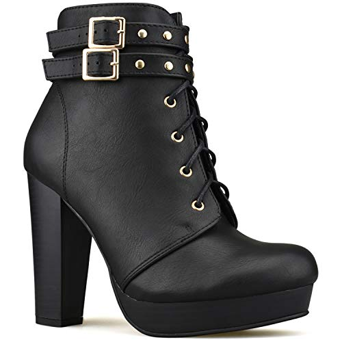 Premier Standard - Women's Strappy Buckle Block Heel Ankle Booties - Lace up Chunky Ankle Booties Black