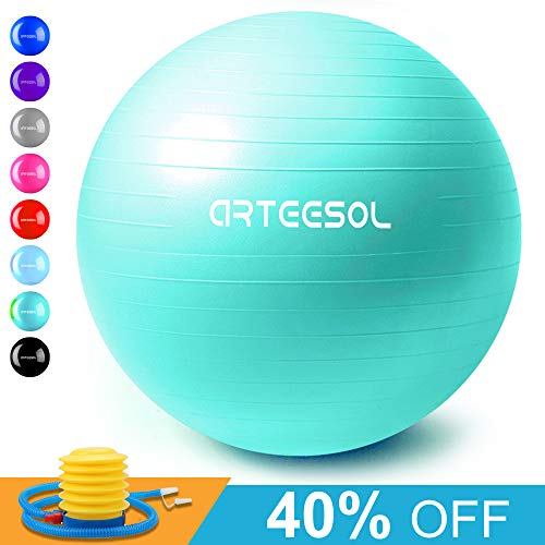 arteesol Exercise Yoga Ball, Extra Thick Stability Balance Ball (45-75cm), Professional Grade Anti Burst&Slip Resistant Balance, Fitness&Physical Therapy, Birthing Ball with Air Pump (oceanblue, (Best Stability Ball For Yogas)