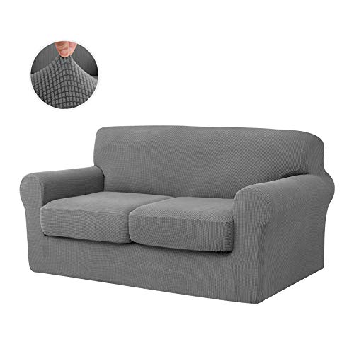 CHUN YI 3-Piece Jacquard High Stretch Sofa Cover, Ektorp 2 Seater Separate Cushion Universal Sofa Slipcover Replacement Coat, Furniture Protector for Couch and Sleeper Sofa (Light Gray)