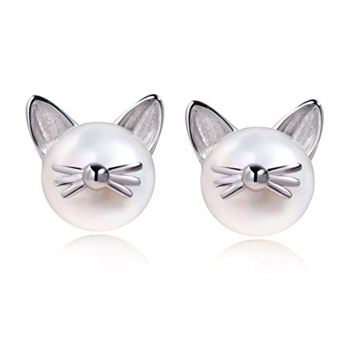Meow Star Pearl Cat Whisker Stud Earrings Sterling Silver Freshwater Cultured Pearl Ear Studs (silver)