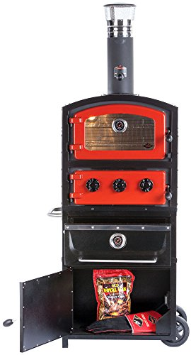 Alfresco Home 82-1002 Fornetto Alto Wood Fired Oven & Smoker with Warming Drawer & Storage Box, Brick Alfresco Storage Drawers