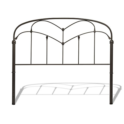 Fashion Bed Group Pomona Metal Headboard Panel with Curved Grills and Detailed Posts, Hazelnut Finish, Queen