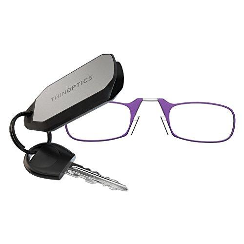 ThinOPTICS Keychain Reading Glasses, Purple Frame, 2.00 Strength