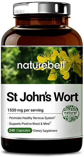 NatureBell St John's Wort 1500 mg, Powerfully Supports Positive Mood & Mind, Promotes Healthy Nervous System, No GMOs, No Preservatives, Third Party Lab Tested, Made in USA