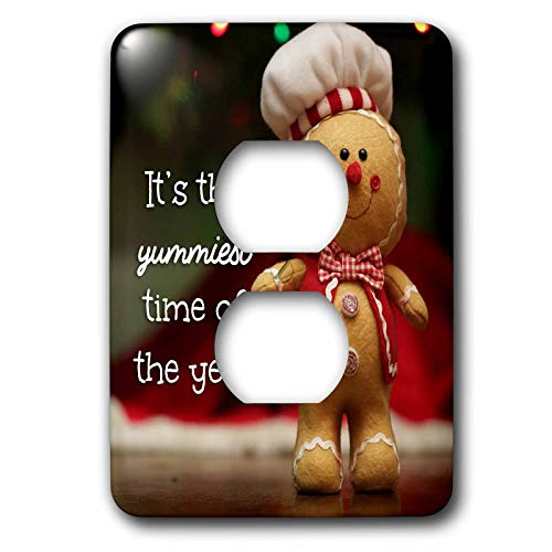 3dRose Stamp City - typography - Photo of a stuffed Gingerbread Man. Its the yummiest time of the year. - Light Switch Covers - 2 plug outlet cover (lsp_304355_6)