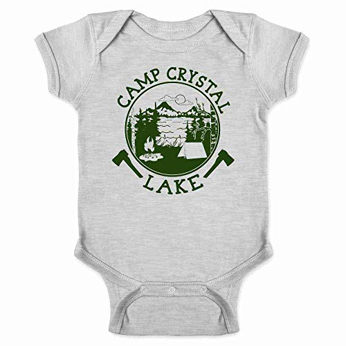 Baby Scary Halloween Costumes (Pop Threads Camp Crystal Lake Counselor Shirt Horror Costume Staff 80s Movie Gray 18M Infant)