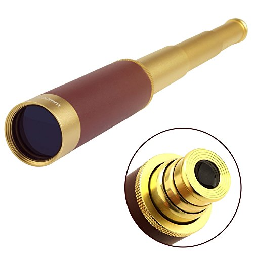 STARVAST Brass Monocular Telescope, 25X30 Zoomable Vintage High Expansion Adjustable Telescopic Monocular Telescope Pocket Collapsible Spyglass , Go with Pirate Eye Patch and Red Turban - Brass Components