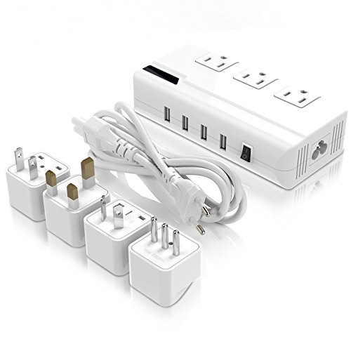 Voltage Converter Travel Adapter, LOFTWELL International Step Down 220V to 110V Converter with 4-Port USB Charging, Worldwide Plug Adapter with UK/AU/US/EU/Italy Plug for International ()