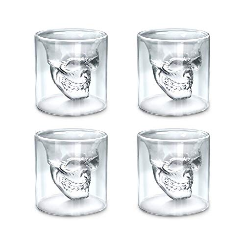 Set of 4 Skull Glass Mug Crystal Skull Drinking Cups Double Wall Cool Beer Cup Creative Transparent Pirate Shot Glasses for Wine Cocktail Vodka Halloween for -