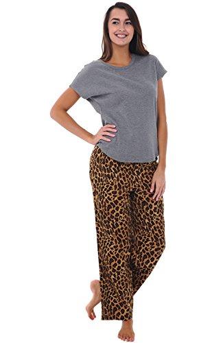 Alexander Del Rossa Womens Modal Knit Pajamas, Long Loose Off The Shoulder Pj Set, Medium Leopard with Grey (A0420K04MD) (Leopard Pj)