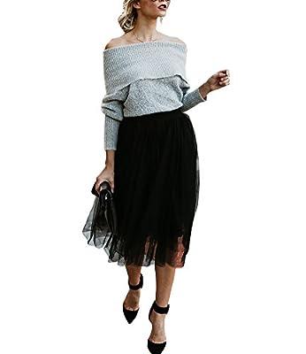 Luluka Women's Tutu A Line Knee Length Elastic Waistband Tulle Skirt
