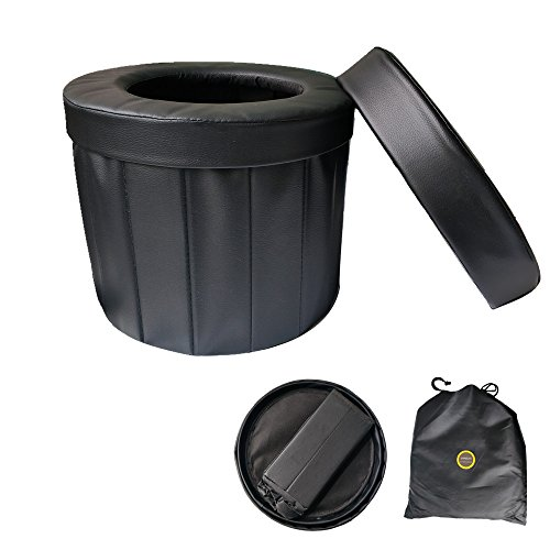 ShineLife Portable Car Commode Folding Toilet Seat - Perfect for Camping, Hiking, Trips, Traffic jam, Also canbe Used as a Stool (Black) by ShineLife (Image #6)
