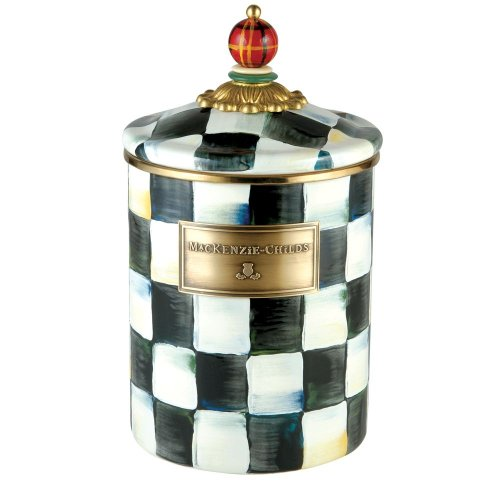 MacKenzie-Childs Courtly Check Enamel Canister - Medium 5'' dia., 5.75'' tall by MacKenzie-Childs