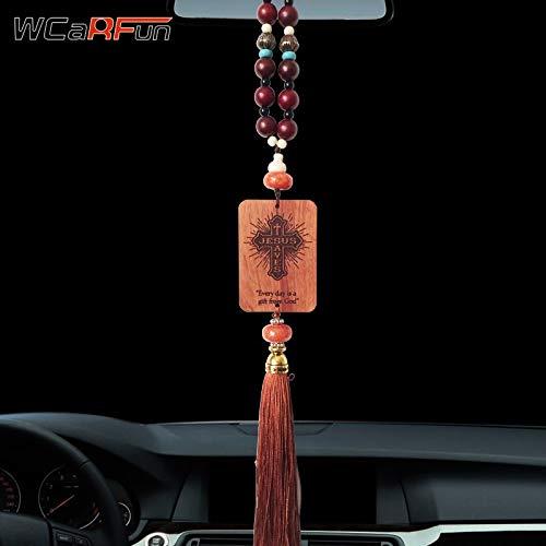 Zereff - Colgante de Madera Hecho a Mano con diseño de Cruz Cristiana de Jesús para Espejo retrovisor de Coche, Accesorios...