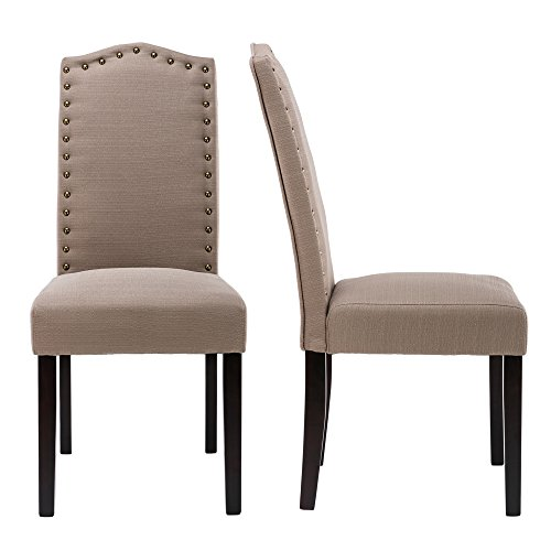 LSSBOUGHT Set of 2 Luxurious Fabric Dining Chairs with Copper Nails and Solid Wood Legs (Light Gray) by LSSBOUGHT
