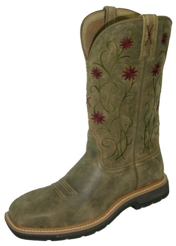 Twisted X Women's Floral Stitched Roughstock Cowgirl Boot Steel Toe Bomber 7 M US