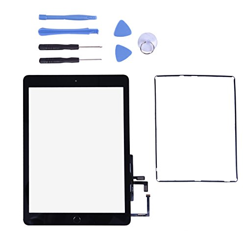 PC Hardware : Touch Screen Digitizer for 2017 iPad 9.7 - Front Glass Replacement with Home Button & Tool Repair Kit (A1822, A1823) - Black