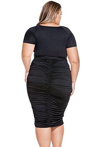 NEW Femme Noir Taille Plus robe Midi Bureau robe Casual Soirée porter Plus Taille 18–20