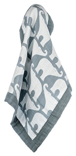 Milkbarn Organic Cotton Mini Lovey Blanket - Blue Elephant
