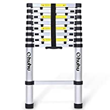 Ohuhu 8.5ft EN131 Aluminum Telescopic Extension Ladder, Extendable Telescoping Ladder with Spring Loaded Locking Mechanism Non-slip Ribbing 330 Pound Capacity