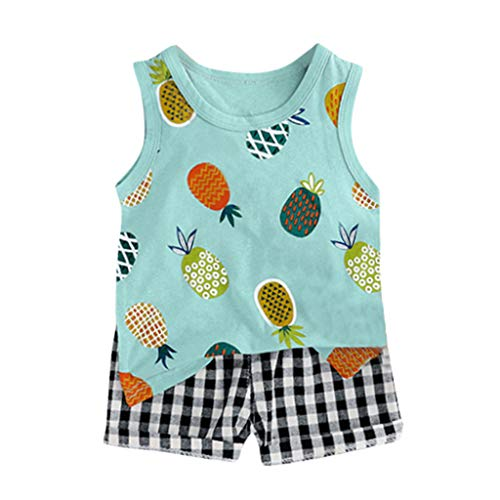Transser Infant Boy Outfits Pineapple Ptinted Vest Tops + Plaid Short Summer Cotton Breathable Clothes