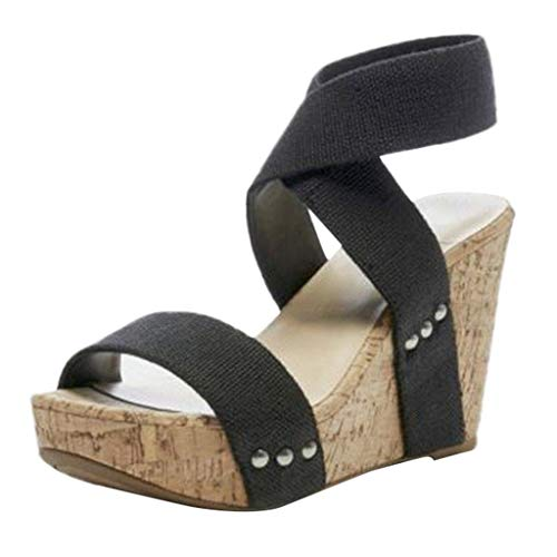 Women's Wedges Sandals Summer High Platform Elastic Band Open Toe Slingback Ankle Strap Shoes (Black, US:8.0)