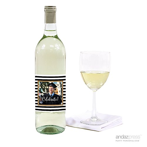 Andaz Press Personalized Graduation Photo Party Collection, Wine Bottle Labels, 20-Pack, Custom Image
