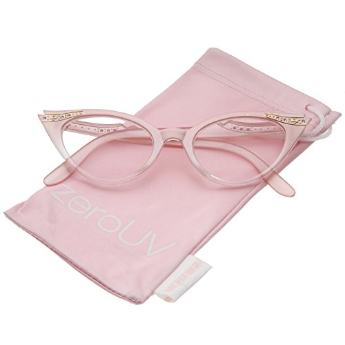zeroUV - Womens Retro Rhinestone Embellished Clear Lens Cat Eye Glasses 51mm (Pink  Clear)