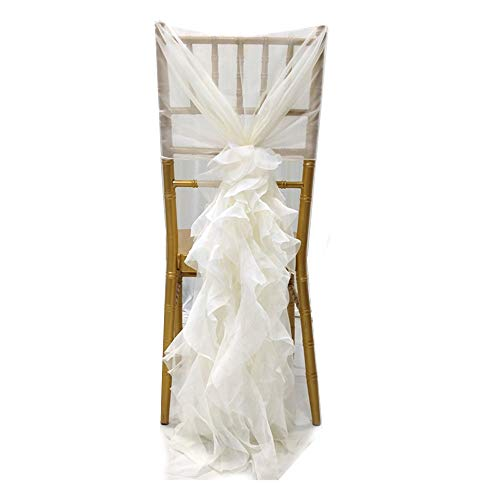NNBX Chiffon Curly Long Chair Skirt Tutu Tulle Sach Chair Cover for Party Sinple Wedding Decoration (Ivory)