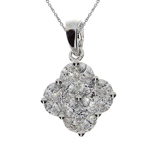 Marquise Cluster Pendant (0.92 Carat (ctw) 14k White Gold Marquise Diamond Women's Clover Cluster Pendant with 18