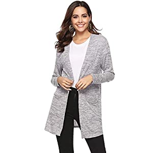 Veste Femme Lin Gilet Cardigan Femme Tricot avec Poches Manches Longues Outwear Élégante Ouvert Vintage
