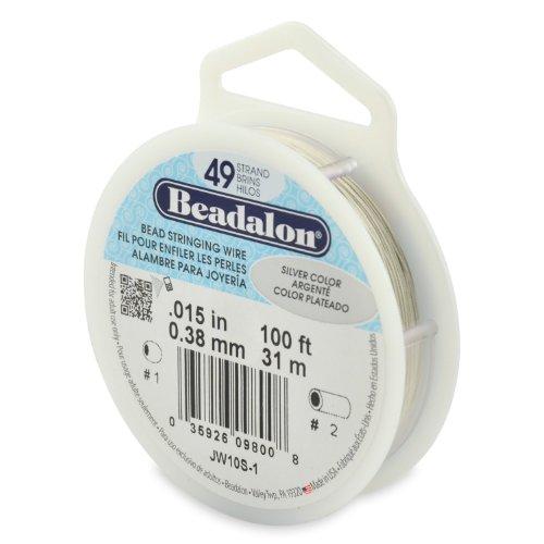 (Beadalon 49-Strand Bead Stringing Wire, 0.015-Inch, Silver Color, 100-Feet)