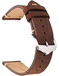 20mm Genuine Leather Watch Band Brown Crazy Horse Replacement Straps