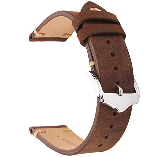 18mm Brown Leather Bands Strap - EACHE 18mm Genuine Leather Watch Band Brown Crazy Horse Replacement Straps